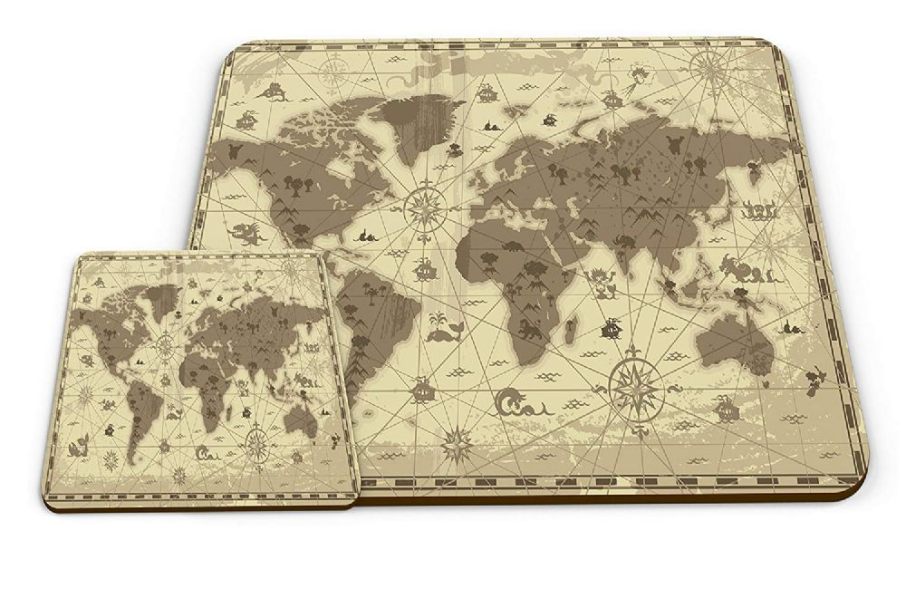Set of Old Map & Compass Cartography Novelty Gift Placemat & Glossy Mug Coaster